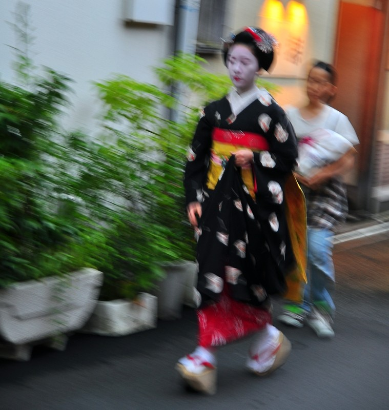 Geisha/Geiko walking in the Gion district of Kyoto, Japan